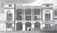 The Birmingham Theatre. Image from Beilby, Knott & Beilby 1830 An Historical and Descriptive Sketch of Birmingham, a work in the public domain.