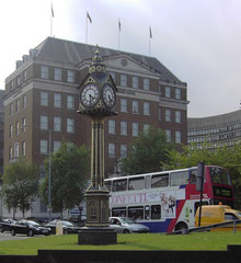 Five Ways clock was erected as a memorial to Birmingham's long-serving first coroner, John Birt Davies who died in 1878.