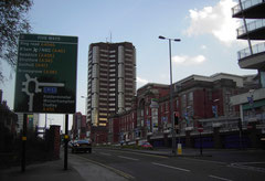 Ladywood Middleway, looking towards Five Ways. The former Children's Hospital is on the right of the photograph.