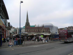 The Bull Ring market, St Martin's and the new Bullring centre in the background