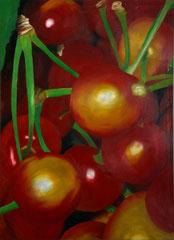 Cerises    /  huile sur toile  /    84,5 x 61