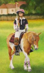 Polo-poney / huile sur toile / 72 x 43,5 cm
