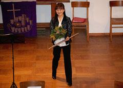 Keiko Ikeda nach ihrem Flötensolo