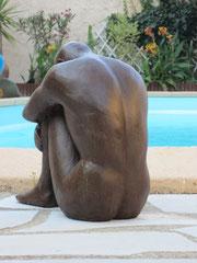"""""""l'homme assis"""" sculpture argile homme nu"""