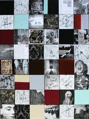 Bildpunkte, Collage, Décollage, Malerei, Mischtechnik   48 Leinwände à 20x20   Bildobjekt 160x120