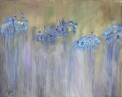Blaue Hortensie, Acryl auf Leinwand, 80 x 100 cm
