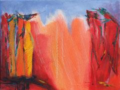 Der Papageienpark, Acryl auf Leinwand, 60 x 80 cm