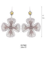 E3702: 170.00, OXI HANGING EARRING WITH A YELLOW CZ IN A TULIP CUP, FILIGREE FLOWER.