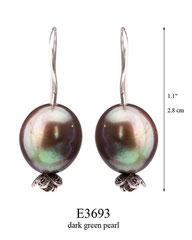 E3693: 30.00, OXI HANGING EARRING WITH DARK GREEN PEARL, FILIGREE LEAVES ON BOTTOM.