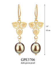 GPE3706: 46.00, GP HANGING EARRING, FILIGREE LEAF WITH A DARK GREEN PEARL ON THE BOTTOM.