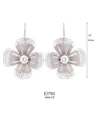 E3701: 180.00, OXI HANGING EARRING, FILIGREE FLOWER WITH A WHITE CZ IN THE CENTER.
