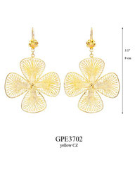 GPE3702: 195.00, GP HANGING EARRING WITH A YELLOW CZ IN A TULIP CUP, FILIGREE FLOWER.