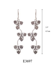 E3697: 60.00, OXI HANGING EARRING, 3 FILIGREE FLOWERS ON A CURVED STICK.