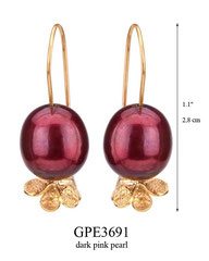GPE3691: 36.00, GP HANGING EARRING WITH DARK PINK PEARL, FILIGREE LEAVES ON BOTTOM.