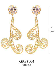 GPE3704: 125.00, GP POST EARRING WHITE CZ IN CUP, SWIRLING FILIGREE.