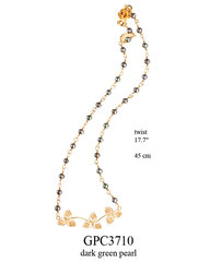 GPC3710: 95.00, GP TWIST CHAIN WITH DARK GREEN PEARLS AND 3 FILIGREE FLOWERS ON THE BOTTOM,WITH A ROSE LOCK.
