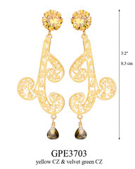 GPE3703: 125.00, GP POST EARRING YELLOW CZ IN CUP, SWIRLING FILIGREE W/ A GREEN VELVET CZ ON THE BOTTOM.