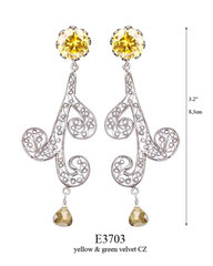 E3703: 105.00, OXI POST EARRING YELLOW CZ IN CUP, SWIRLING FILIGREE W/ A GREEN VELVET CZ ON THE BOTTOM.