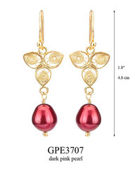GPE3707: 46.00, GP HANGING EARRING, FILIGREE LEAF WITH A DARK PINK PEARL ON THE BOTTOM.