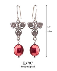 E3707: 40.00, OXI HANGING EARRING, FILIGREE LEAF WITH A DARK PINK PEARL ON THE BOTTOM.