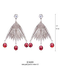 E3699: 180.00, OXI POST EARRING, WHITE CZ IN CUP, LONG FILIGREE LEAVES W/3 DARK PINK PEARLS ON THE BOTTOM.