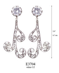 E3704: 105.00, OXI POST EARRING WHITE CZ IN CUP, SWIRLING FILIGREE.