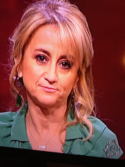 Luciana Litizetto wearing Yvone Christa E3909 aquamarine earrings at the Sanremo Festival 2013