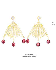GPE3699: 210.00, GP POST EARRING, WHITE CZ IN CUP, LONG FILIGREE LEAVES W/3 DARK PINK PEARLS ON THE BOTTOM.