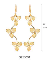 GPE3697: 70.00, GP HANGING EARRING, 3 FILIGREE FLOWERS ON A CURVED STICK.