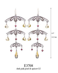 E3708: 165.00, OXI HANGING EARRING, 3 TIER FILIGREE WITH DARK PINK PEARLS AND APRICOT CZ ON EACH TIER, EGYPTIAN COLLECTION.