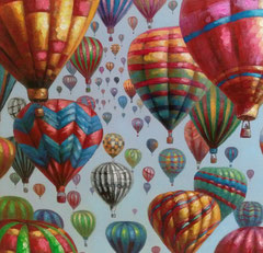 """Heißluftballons"", Leinwand, Seiten bemalt 115 x 115 cm, 289,- € *"