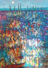 """A. Ignatkov, """"Vollmond über Lübeck"""", 70 x 100 cm, 999,-€*"""