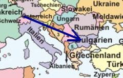 Kreuzlingen, Schweiz - Sofia, Bulgarien