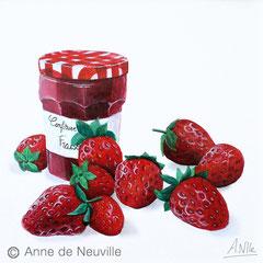 Composition de fraises - Gouache- 80€