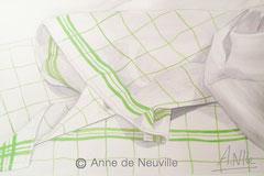 Torchons vert et blanc - Gouache - 70€