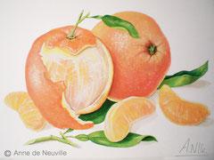 Oranges et gourmandise - Gouache - 80€