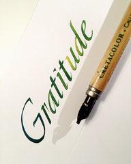 Gratitude in humanistischer Cursive