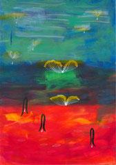 """Nr.: 095   """"Honigtropfen und Blüten im Meer"""" 70*100 cm"""