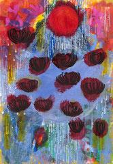 """Nr.: 110  """"Rote Sonne, Schwarze Blüten, schwere Liebe"""" 70*100 cm"""