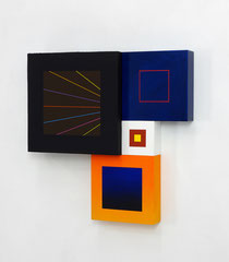 Richard Schur, Spatial Object, 2018, acrylic, wood, 50 x 50 x 9 cm  / 20 x 20 x 3,5 inch, available at Kristin Hjellegjerde Gallery, London and Berlin