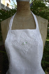 Vintage tablecloths upcycled into aprons