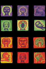 Tabou collage on canvas 12 5cmx5cm canvases