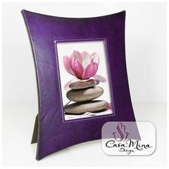 Leder Bilderrahmen Fotorahmen Lederrahmen violett lila XL Casa Mina Design
