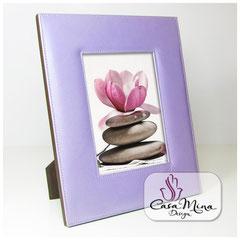 Leder Bilderrahmen Fotorahmen Lederrahmen flieder violett lila L Casa Mina Design