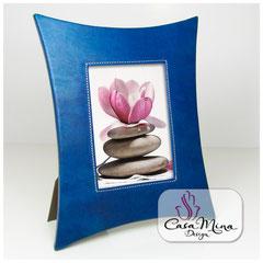 Leder Bilderrahmen Fotorahmen Lederrahmen blau XL Casa Mina Design