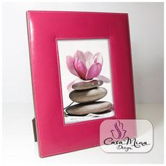 Leder Bilderrahmen Fotorahmen Lederrahmen pink L  Casa Mina Design