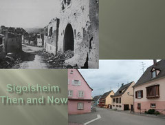 Crossroad de la Rue Oberhof, de la Grand Rue (on the left) and de la Rue de l'Evêque (on the right) – Then and Now (Photo courtesy Family Roland Laich, Katrin Raabe)