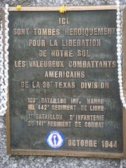 Enscription plate for he Lost Battalion