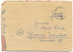 Fieldpost envelope Walter Laich (Courtesy Family Roland Laich)
