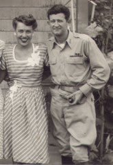Lt. Martin J. Higgins and his wife at Warm Springs, Georgia, August 1945 – Lt Higgins had just returned to the US after being a POW (Photo courtesy Higgins Family Collection)